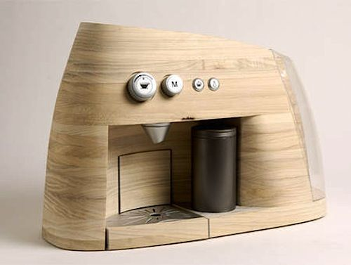 Wooden Espresso Machine  Norwegians love wood not only for their houses or furniture. This espresso machine, created by the industrial designers Øystein Helle Husby, Audun Grimstad, Mariko Kurioka Rohde und Åsne Kydland is such a beautiful expample of wooden product design.    source: whudat.de