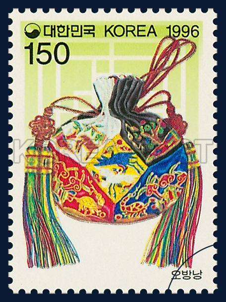 KOREAN BEAUTY SERIES (6TH), Obangnang, traditional culture, yellow, red, blue, 1996 11 01, 한국의 미 시리즈(여섯번째묶음), 1996년 11월 01일, 1882, 오방낭, postage 우표