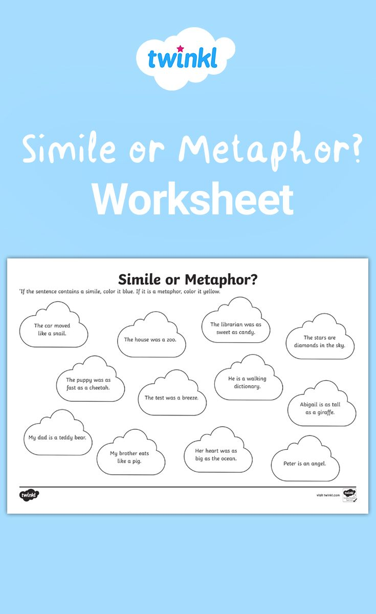 Similes Or Metaphors Ks2 Worksheet Writing Similes Metaphor Activities Student Encouragement