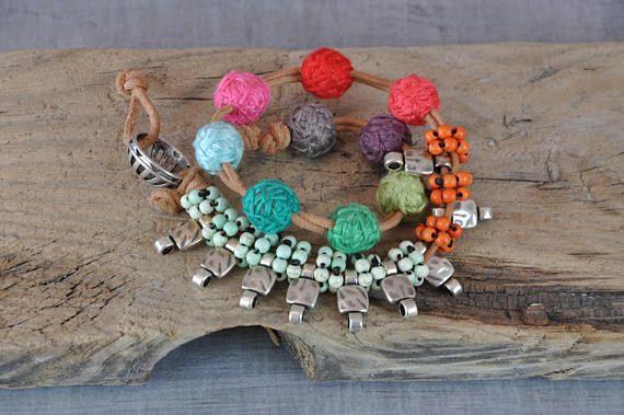 Hippie Gemstone Bracelet  Boho Handmaded Beaded Bracelet