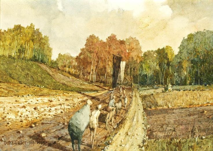 """Jerzy DUDA-GRACZ (1941-2004) La procession  Huile sur toile Signé et daté en bas à gauche: """"Duda Gracz 986/985""""  H: 46.0 x L: 65.0 cm - Sold 3800 € on www.artprecium.com #ArtAuction"""