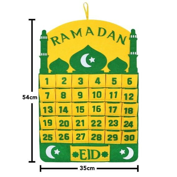 Green Yellow Ramadan Advent Calendar With Large Eid Pocket In 2021 Ramadan Advent Advent Calendar