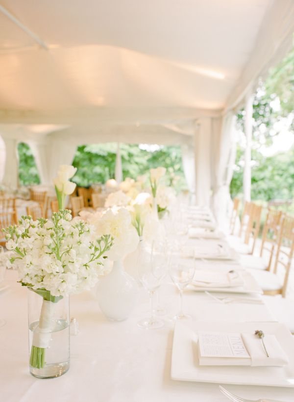 #Wedding #Colours... 3 main colours:-  + 2 accent colours ... For colour ideas http://pinterest.com/groomsandbrides/wedding-colour-combinations .. all white wedding reception // white tent + white linens + wood chairs