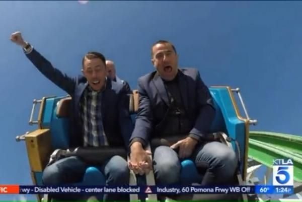 Australian couple wed on California roller coaster