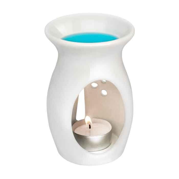 Biały kominek do aromaterapii