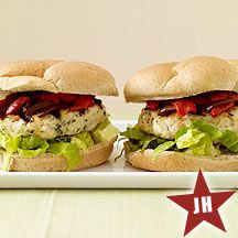 Weight Watchers Feta-stuffed chicken burgers -- delicious alternative to normal beef burgers.  loads of flavor with feta, olives, and roasted red peppers.