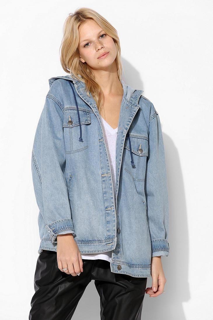 Hooded Blue Jean Jacket - Coat Nj