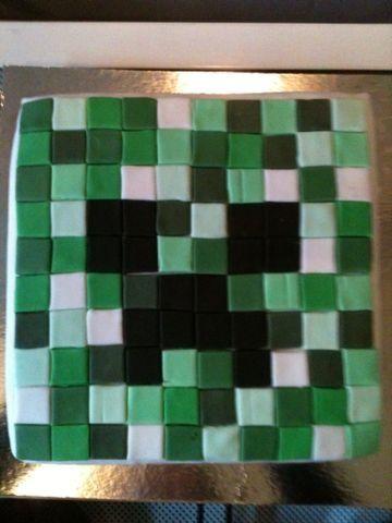 Een Creeper-taart van het populaire minecrraft.