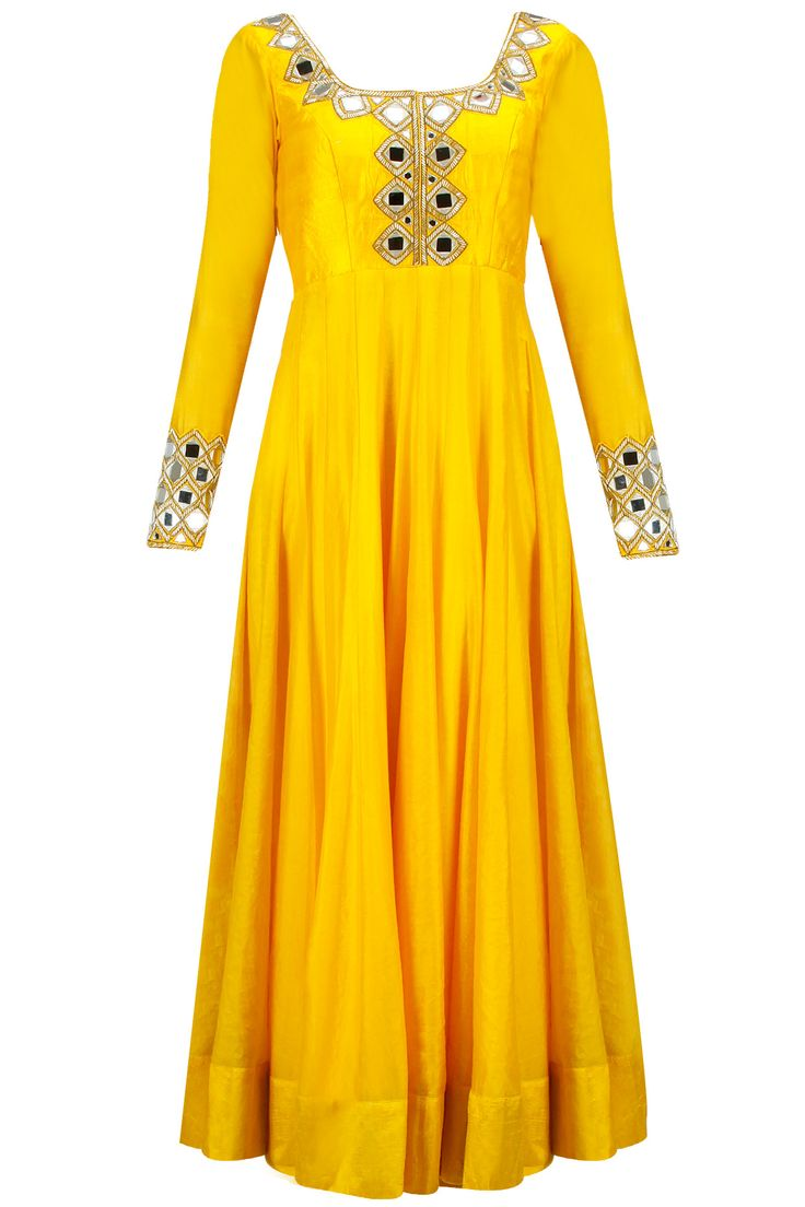 Sunny yellow mirror work anarkali set available only at Pernia's Pop-Up Shop.