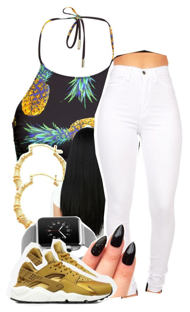 """(null)"" by babygirlslayy ❤ liked on Polyvore featuring H&M and NIKE"