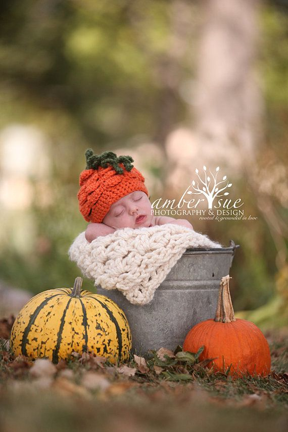 Newborn Halloween Fall Pumpkin Hat Ready To by PerfectlySweetProps, $20.00