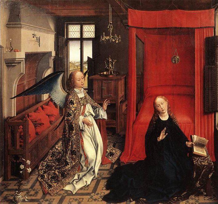 ROGIER VAN DER WEYDEN (1399-1464) ANNUNCIAZIONE Van der Weyden ripropone in quest'opera, che è considerata fra le prime sue opere sicure, il porblemama della spazialità fiamminga. Un interno di piccole dimensioni ma ricco di particolari, una finestra che si apre a suggerire una campagna attraversata da un fiume, un'atmosfera piena di naturalezza; è come se si fosse dentro una casa borghese e che un colloquio famigliare venisse per un attimo interrotto. #art #oil #canvas #history #Rogier