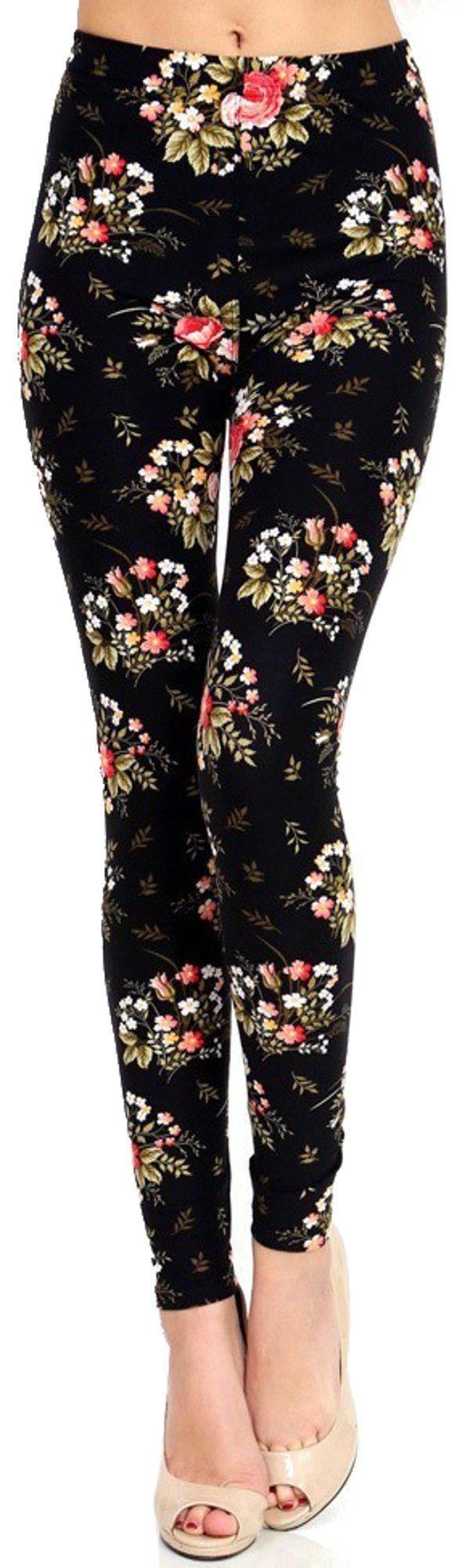 Lush Moda Extra Soft Leggings with Designs- Variety of Prints - Black Floral 2