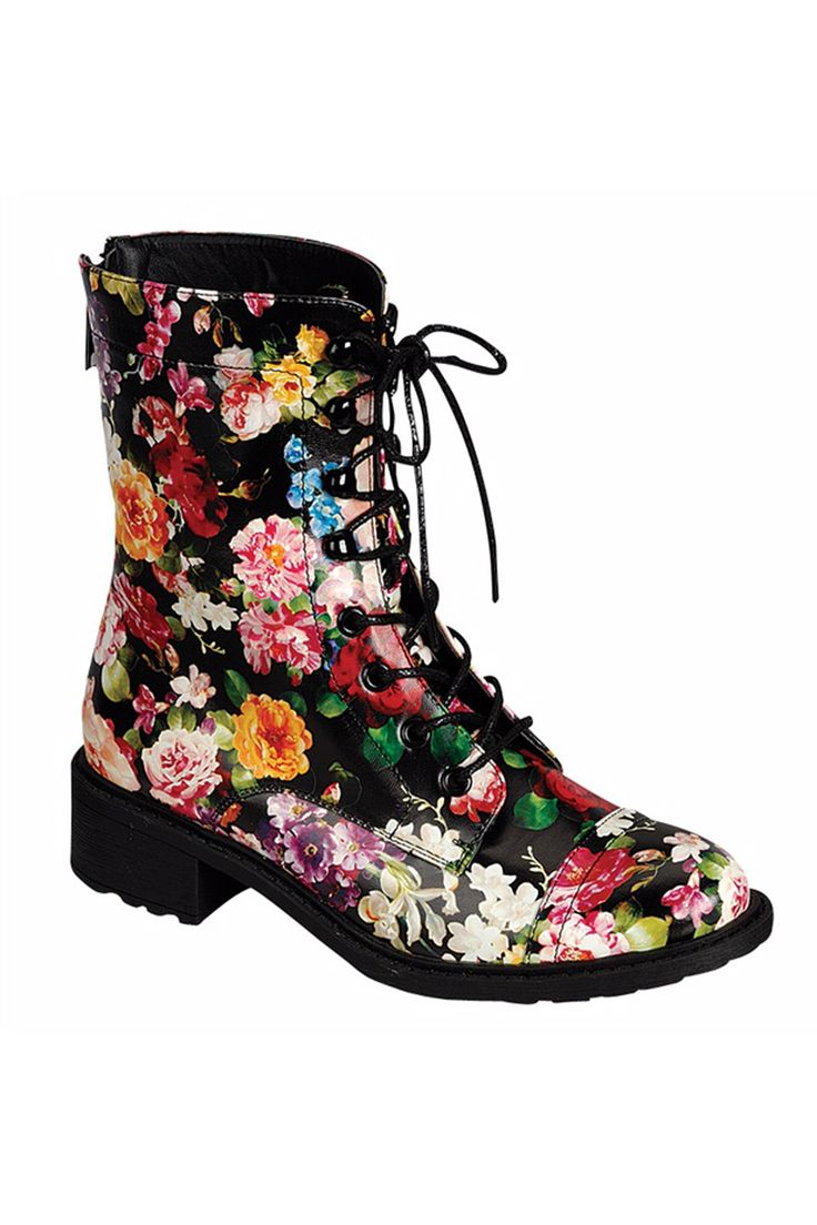 Dollhouse Garden Lace-Up Midshaft Combat Boots in Black - Beyond the Rack $28.99
