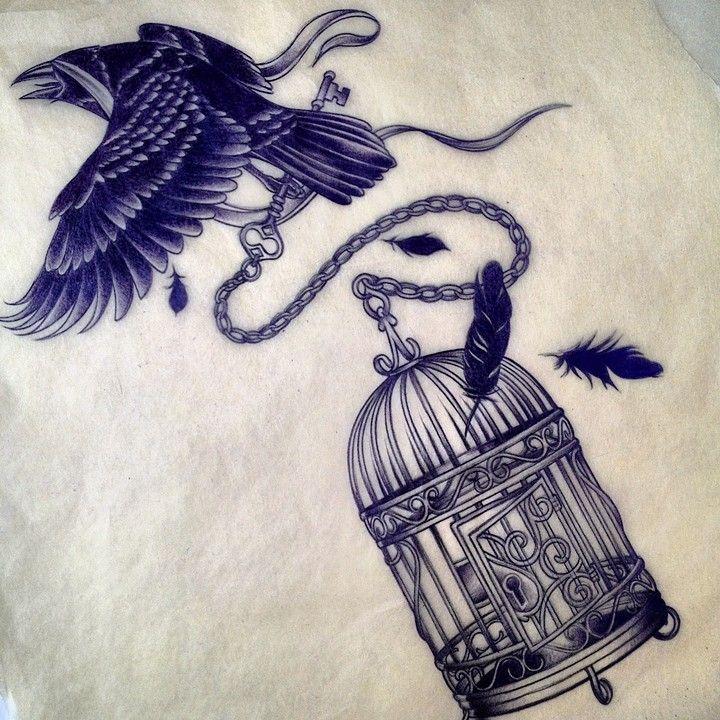 Raven and birdcage tattoo design by Adam Sky, San Francisco, California- with a bluebird