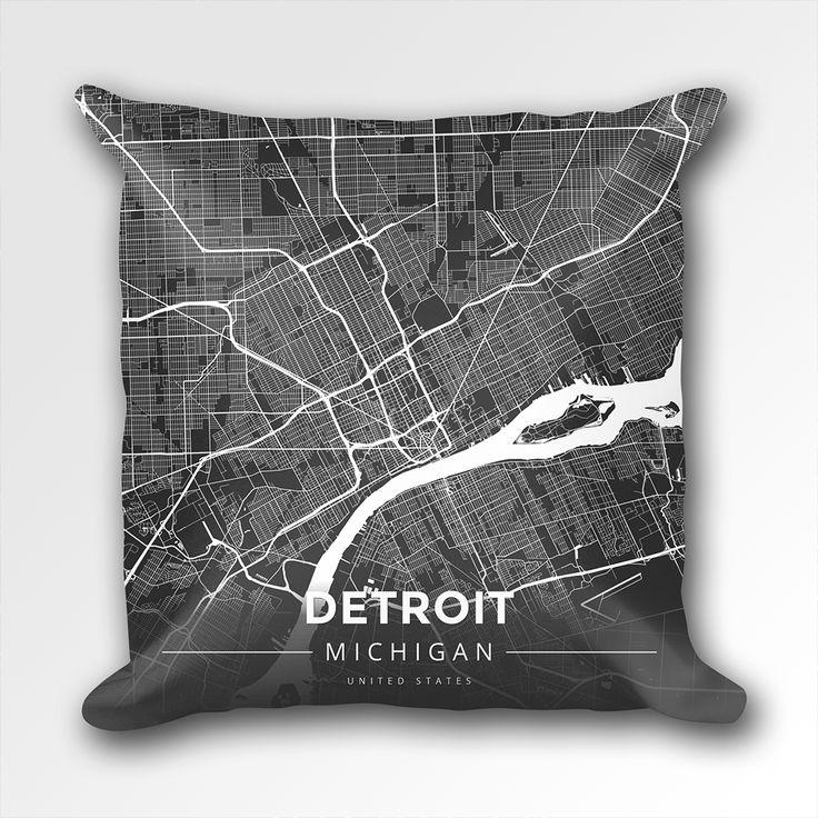 Detroit In World Map%0A Map Throw Pillow of Detroit Michigan  Modern Contrast  Detroit Map Art