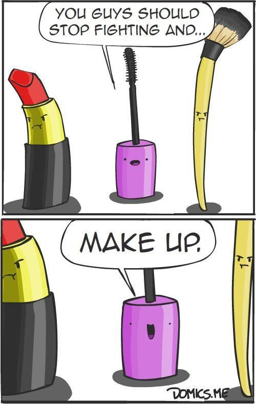 Funny Fighting Makeup Cartoon Picture   Funny Joke Pictures