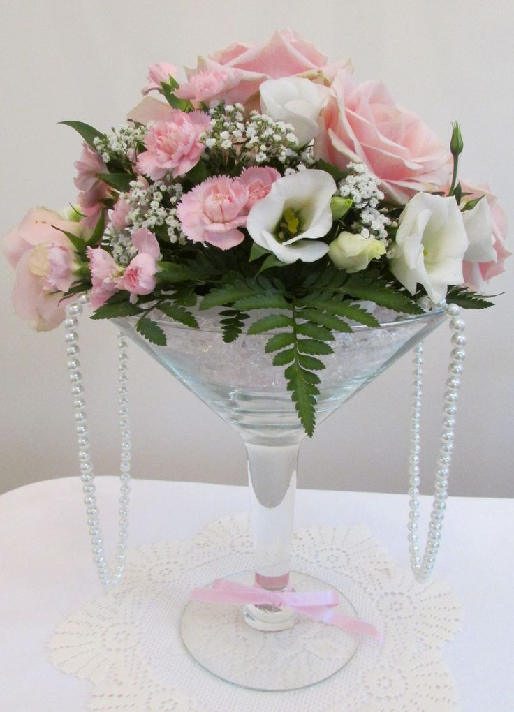 Short Martini Vase With Light Pink Roses And Pearls By