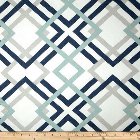 Exceptional Navy Grey U0026 Aqua Designer Home Decor Fabric By The Yard Cotton Drapery Or  Upholstery Fabric Contemporary Geometric Navy And Grey Fabric B174