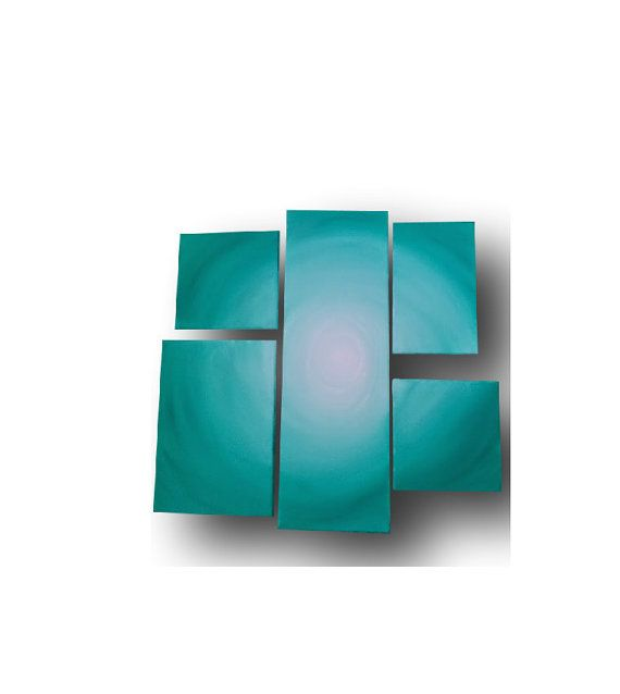 Large canvas painting Abstract Turquoise White 5 by EnJoyArtStudio