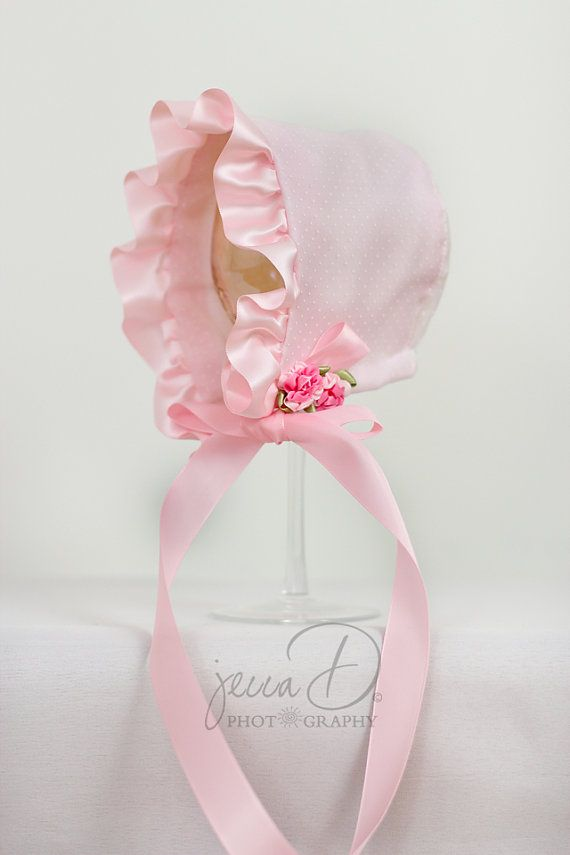 The Sarah Pink Baby Girl Bonnet by LaFleurBonnets on Etsy, $25.00