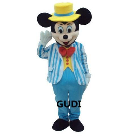 Light Blue Suit Mickey Mouse Mascot Costume Cartoon Character Adult Suit
