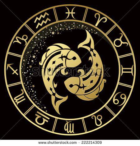 Golden Pisces Zodiac Sign Vector Illustration Zodiac Signs Pisces Zodiac Pices Sign