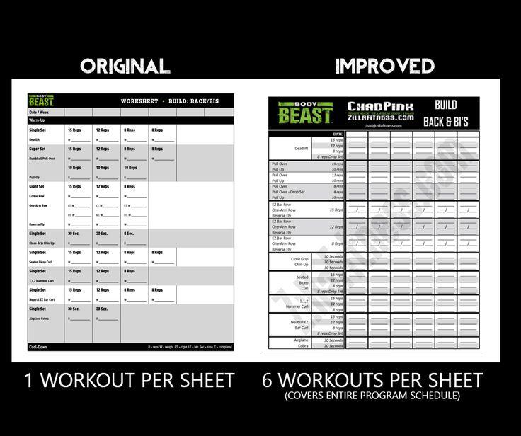 body beast workout sheets post comparison orginal 2016 excercise pinterest workout sheets. Black Bedroom Furniture Sets. Home Design Ideas