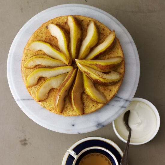 Hazelnut Tea Cake with Moscato Pears | Marinating the pears in a semi-sweet wine, like Moscato d'Asti, enhances the fruit's natural sugars and compliments the delicate tea cake.