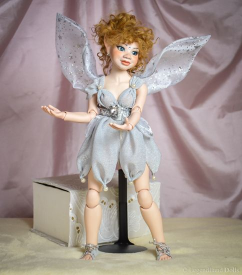 Standing art BJD doll with wings. Handmade doll, painting, clothes by LegendLand Dolls