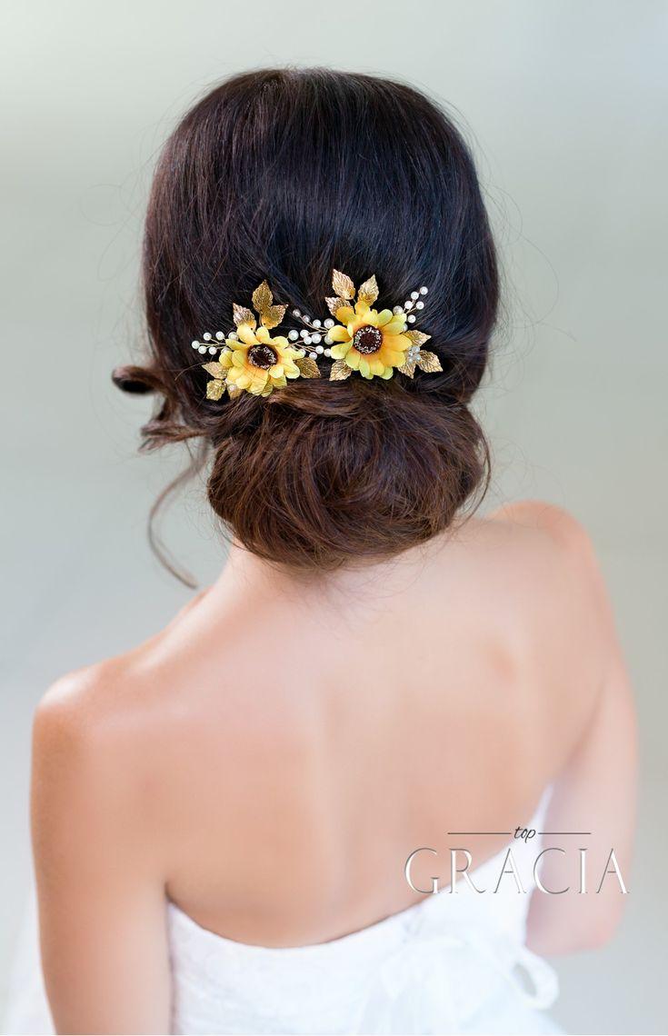 KALLISTRATE Autumn Bridesmaid Sunflower Bridal Hair Pins Fall Wedding Hair Accessories by TopGracia #topgraciawedding #bridalhairpins #weddingheadband
