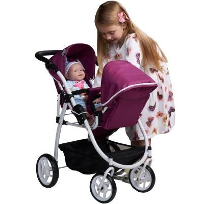 Britax Duo Twin Pram Dolls Toy (Cool Berry)