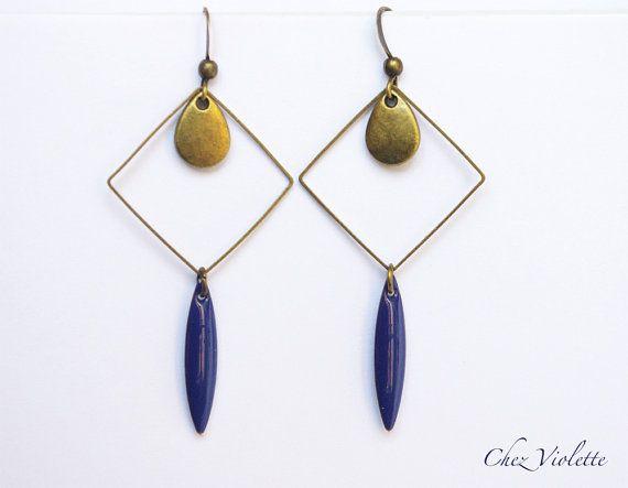 Boucles d'oreilles géométrique bronze carré par CocoFlowerShop