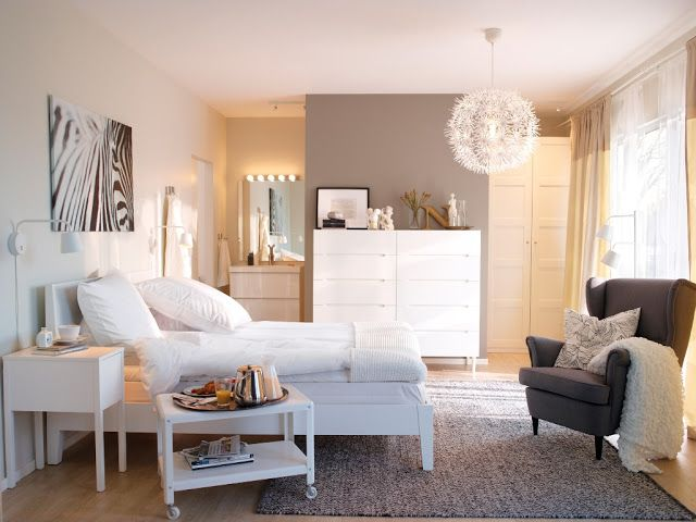 Ikea Bedroom 2014. Like the fresh look. Way of how to arrange furniture. Were the 'view is' put a wardrobe there!
