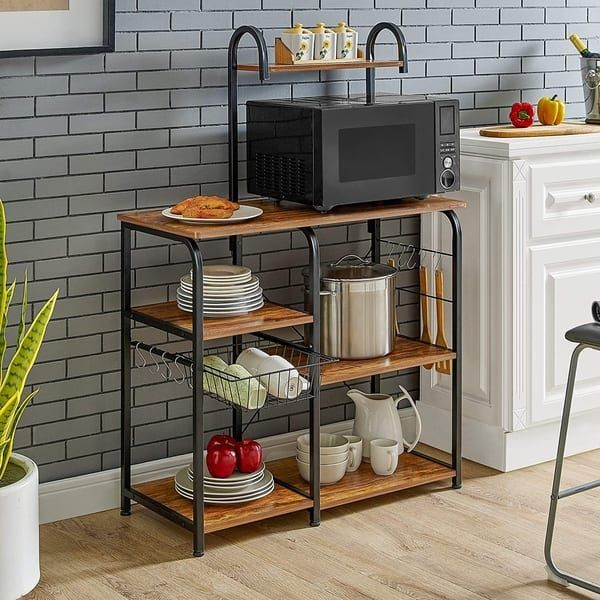 35 5 Kitchen Baker S Rack Utility Storage Shelf Microwave Stand Workstation With 10 Hooks 4 Tier In 2020 Kitchen Organizer Rack Storage Shelves
