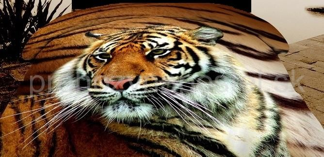 Prehozy na manželskú posteľ obojstranné hnedo bielej farby s motívom tigra