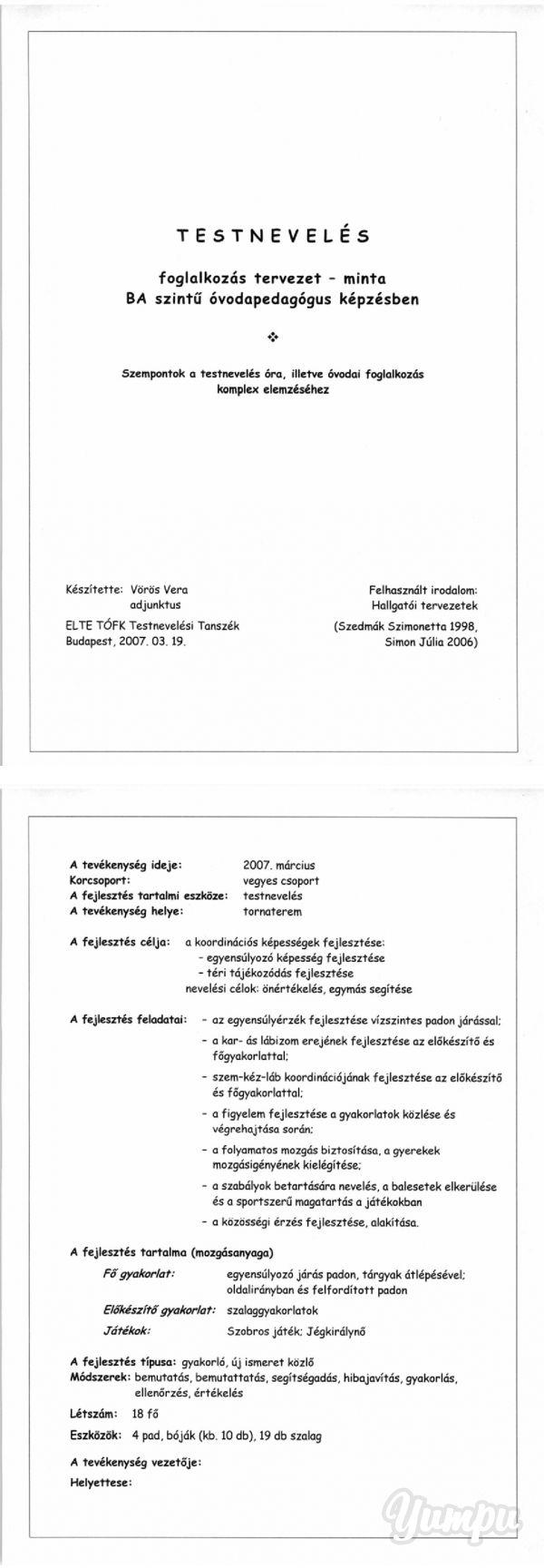 Óvodai minta foglalkozás terv. - ELTE Tanító - Magazine with 22 pages: Óvodai…