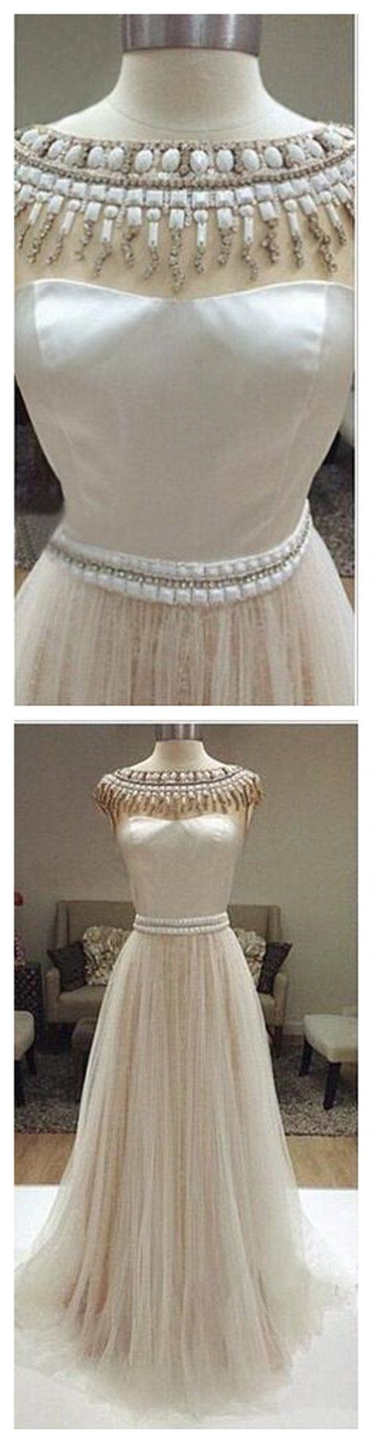 Long Ivory Party Charming Cheap Tulle Prom Evening Prom Dresses Prom Dress