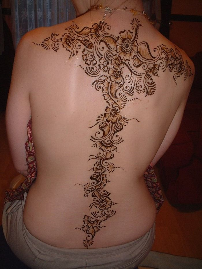 Henna Back Tattoo Desiisgn, Love