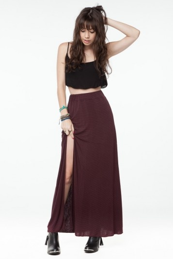 Giuliana Highslit Maxi Skirt From Brandy Melville Street Style Casual Cool Pinterest