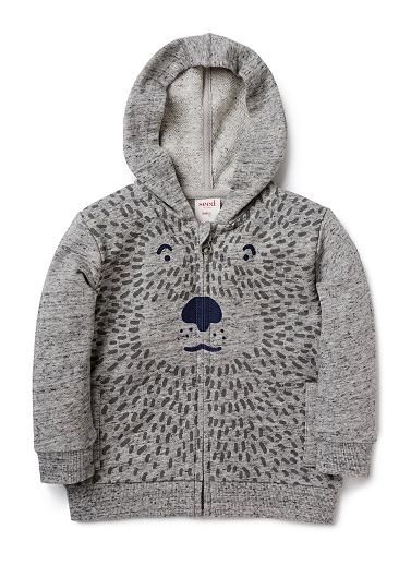 100% Cotton French Terry zip up hoodie featuring front bear face print.