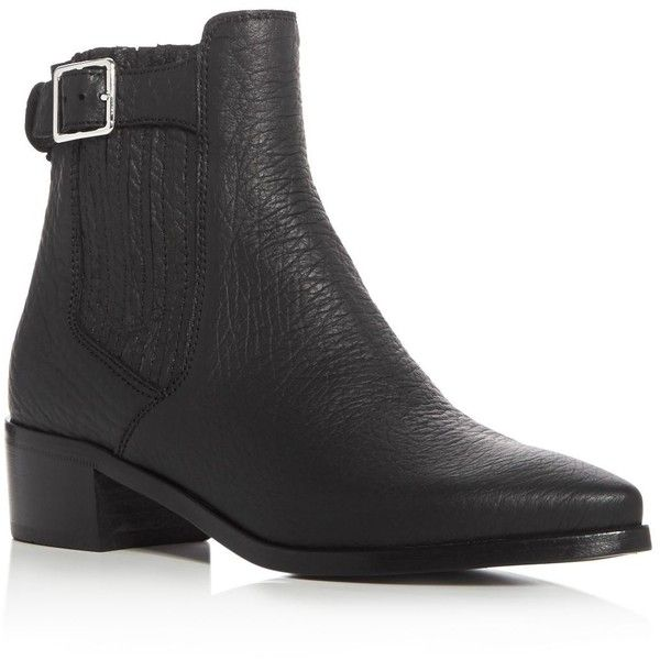 Belstaff Albaz Pointed Toe Mid Heel Booties (910 BGN) ❤ liked on Polyvore featuring shoes, boots, ankle booties, black, black pointy toe boots, black rubber boots, rubber boots, black pointed toe booties and leather upper boots