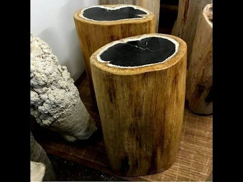 IndoGemstone Fossil Stump End Table - YouTube