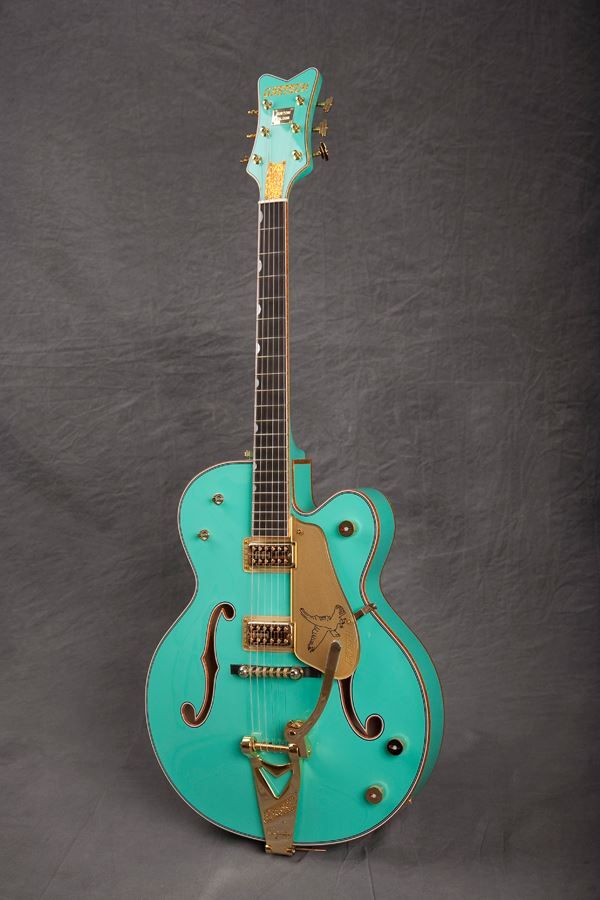 This beauty is a Sonic Blue '59 Falcon that was made for The Music Zoo in New York. What do you think of that striking color?