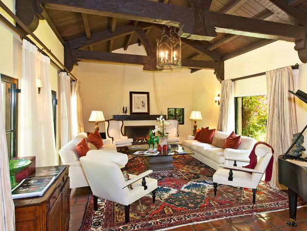 living room with amazing ceiling and lantern wallace neff spanish style estate