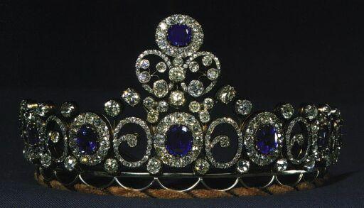 Mecklenburg-Schwerin Tiara, Denmark (1879; sapphires, diamonds). Wedding present of Grand Duchess Anastasia Mikhailovna when she married the Grand Duke of Mecklenburg-Schwerin. Inherited by the Danish royal family.