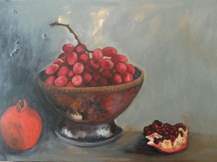 """""""Still life with silver bowl"""" Acrylics on canvas"""