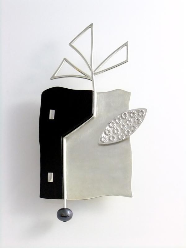 PAMELA RITCHIE-CA  2010, Brooch sterling, ebony, pearl. 10 cm h x 5.3 w x .8 d.