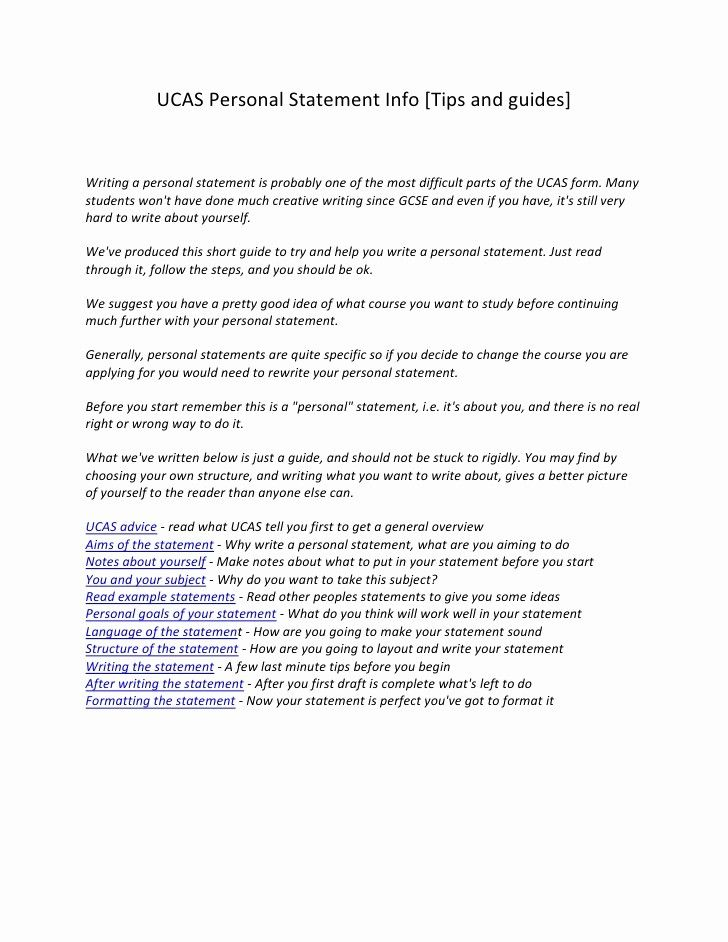 Personal Statement Example Essays Fresh Personal Statement