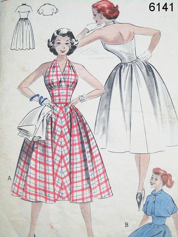 Vintage Dress Pattern - Butterick 6141 - Vtg 1950's Halter Dress and Brief Jacket